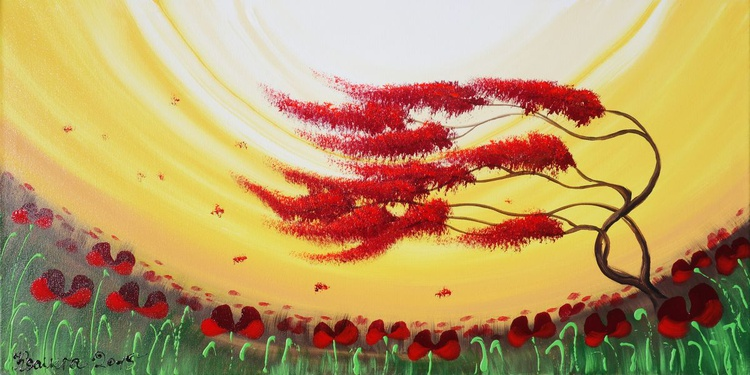 Cherry blossom 77 windy day painting flowers decor original floral art 50x100x2 cm stretched canvas acrylic sakura art yellow wall art by artist Ksavera - Image 0
