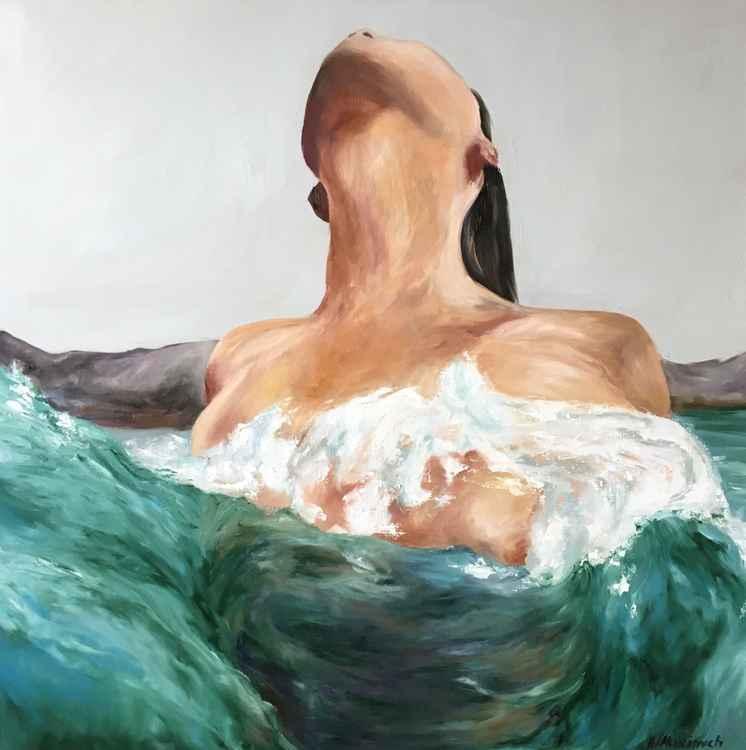 Original artwork Woman swimming, Tropical sea, Green wave, Emerald