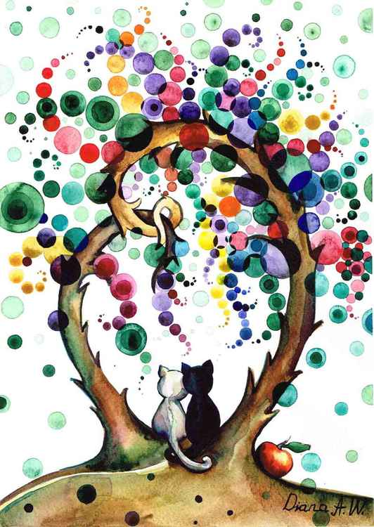 Romantic cats under the Multicolour Trees. In Love