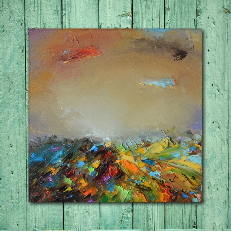 Cloudy etude, modern landscape oil painting on canvas, Free shipping - Image 0