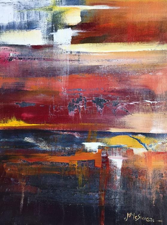 Scrape Abstract Acrylic  Marsh Sunset Painting - Image 0