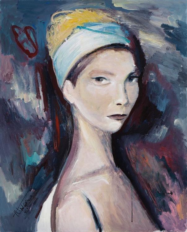 L'une (7, 65x81 cm) ~ woman portrait, figure study - Image 0