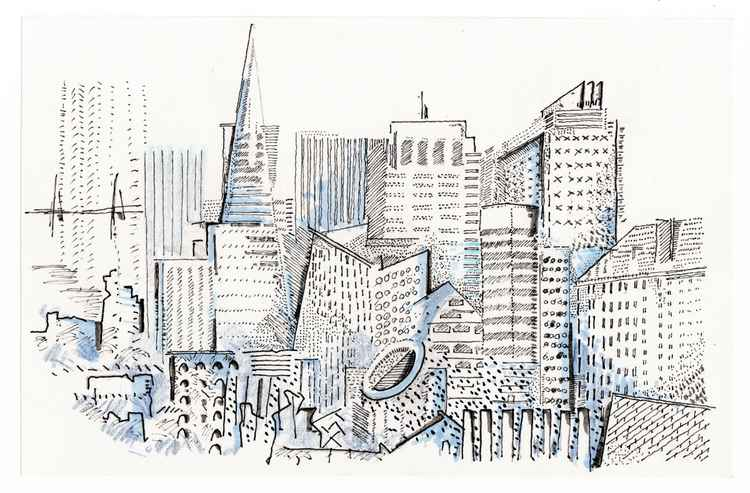 San Francisco Skyline dotted sketches in abstract geometry form, fine art wall art, home decor, architectural context landscape -