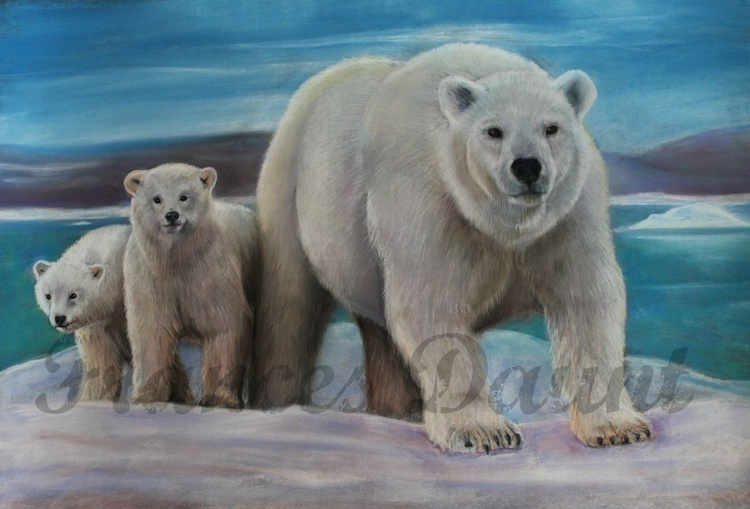 Don't Mess! Pastel picture of a polar bear family - Image 0