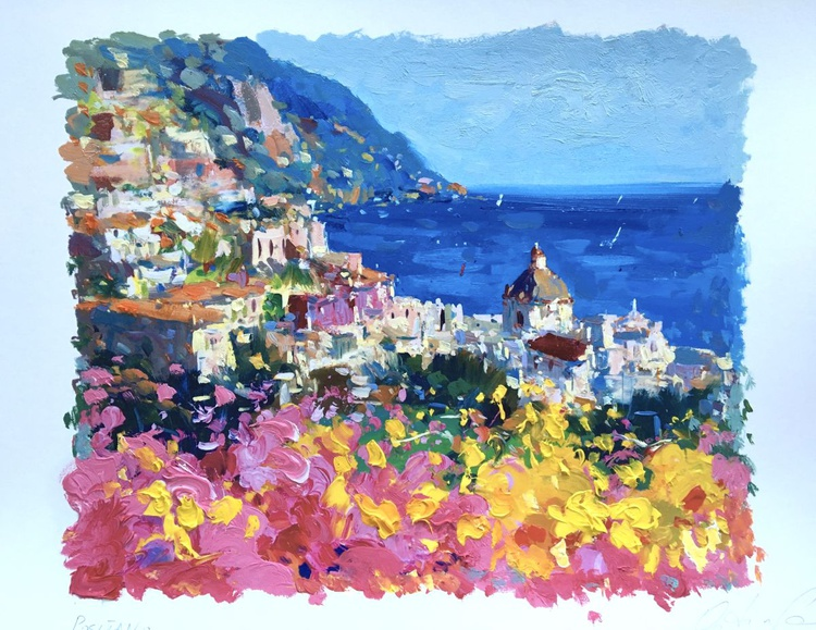 Romantic Positano Artwork, Amalfi Italy Art, Flowers Wall Art, Home Decor, Small Painting, Bedroom Decor, Seascape Art,Gift for Her, Gift for Her - Image 0