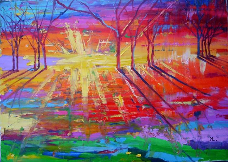 """ LUCKY DAY ""  ABSTRACT original OIL painting CITY palette knife GIFT MODERN URBAN ART OFFICE ART DECOR HOME DECOR GIFT IDEA - Image 0"