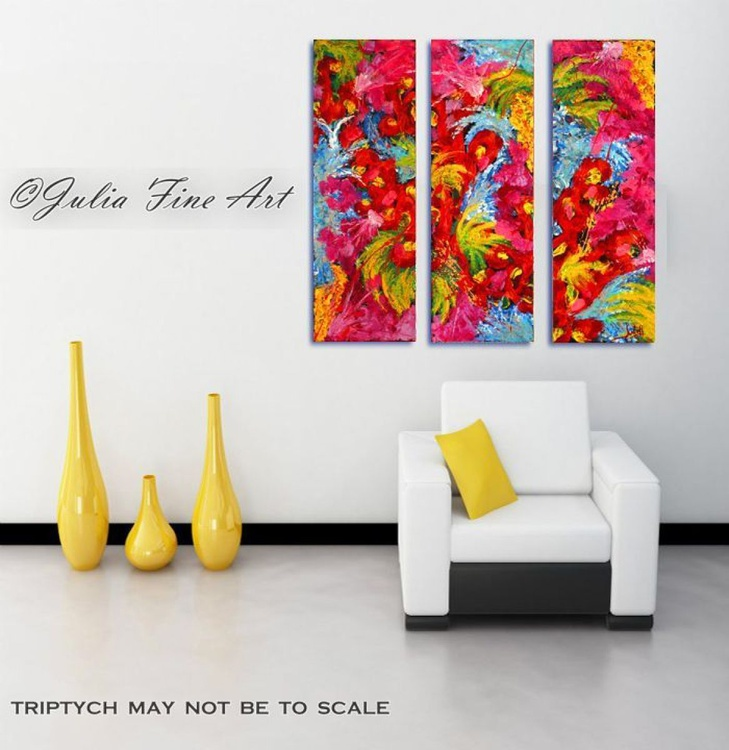 Three Part Painting, Floral Abstract Art, Modern Triptych, Original Hand-painted, Rich Texture, Ready to Hang Paintings - Image 0