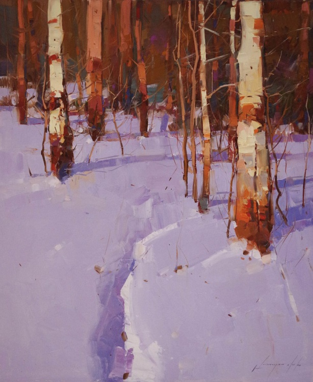 Birches Landscape Winter Original oil painting  Hand painted art work One of a kind - Image 0