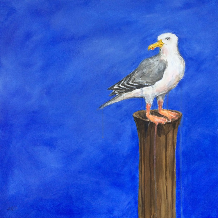 Seagull Lookout on Blue - Image 0