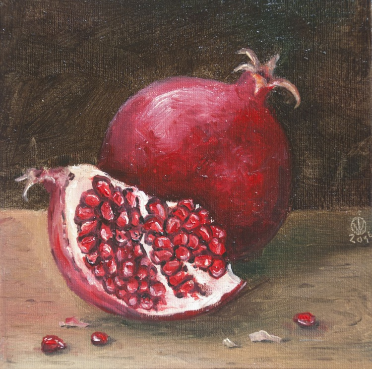 Pomegranate (15x15cm) original oil painting little still life realistic vintage style small gift kitchen decor - Image 0