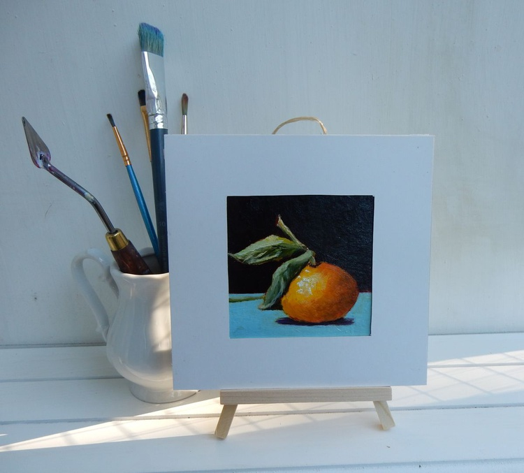 tangerine. Miniature painting Mandarin. Easel is included. Gift painting. Ready to hang. - Image 0