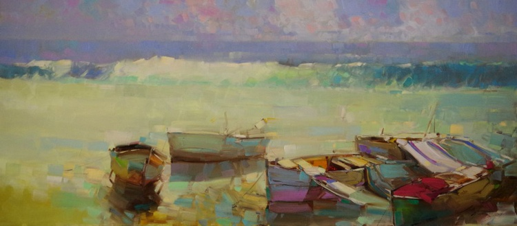 Rowboats  Original oil painting  Handmade artwork One of a kind Large Size - Image 0