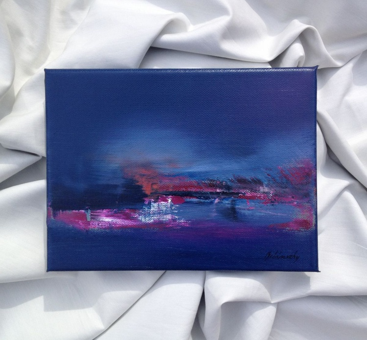 Little Lake - 18 x 24 cm, abstract landscape oil painting in purple and blue - Image 0