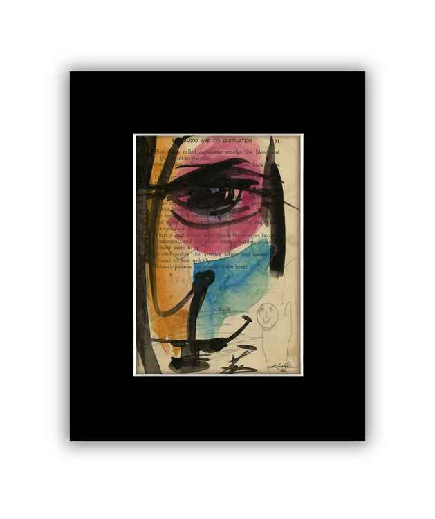 """I See 27"" on Antique Book Page - Abstract Watercolor Painting"
