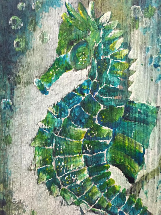 Green & Blue Sea Horse - Image 0