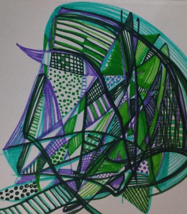 Green and Purple Geometric Drawing (13cm x 14cm) - Image 0