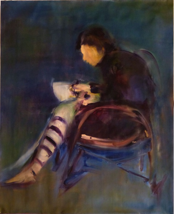 Woman writing a letter 2, oil on canvas 73x92 cm - Image 0