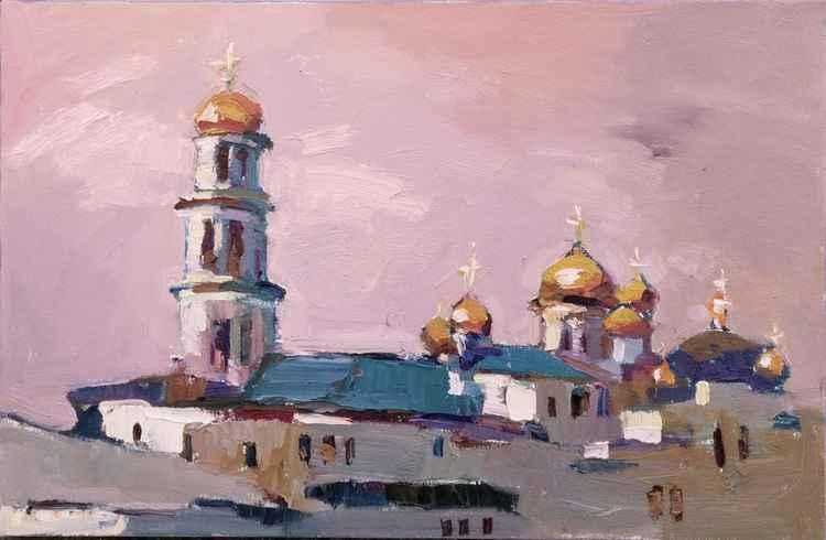 Landscape painting Kiev Pechersk Lavra in Ukraine -