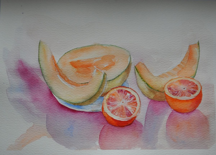 Still life with melon and red sicily oranges - Image 0
