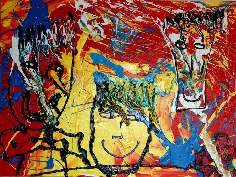 HAPPY COLORS    80x60x4 so bright so many art pieces inside this painting ;-) - Image 0