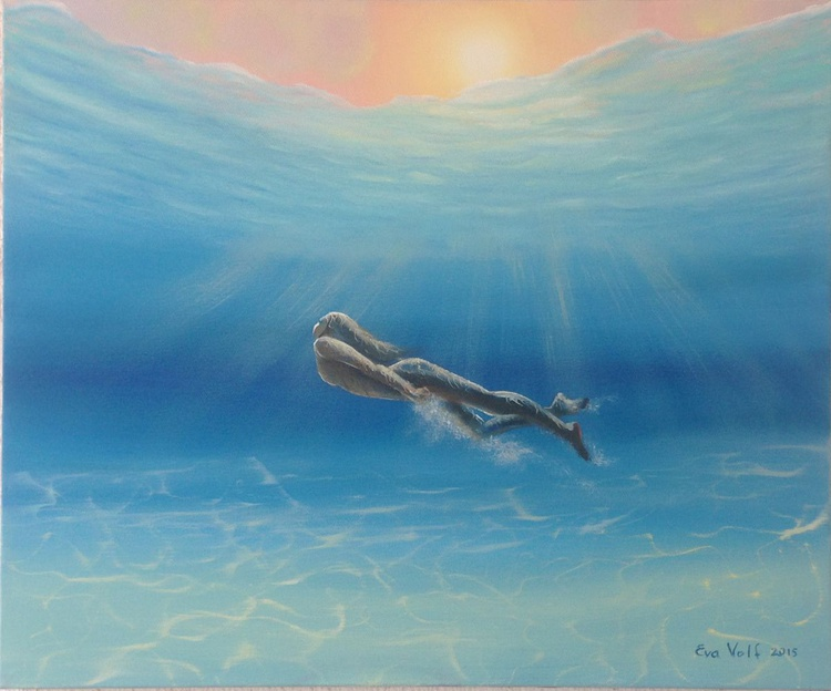 """In Love with the Sea IV, Underwater Art, Original Blue Oil Painting on Canvas 20x24"""" - Image 0"""