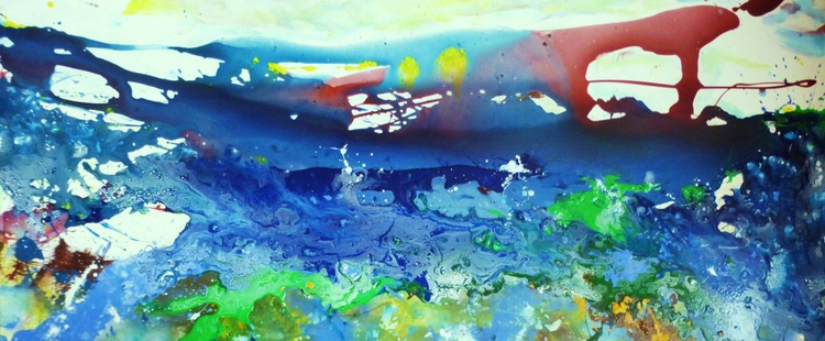 Abstract seascape. Duality.  70x160cm - Image 0