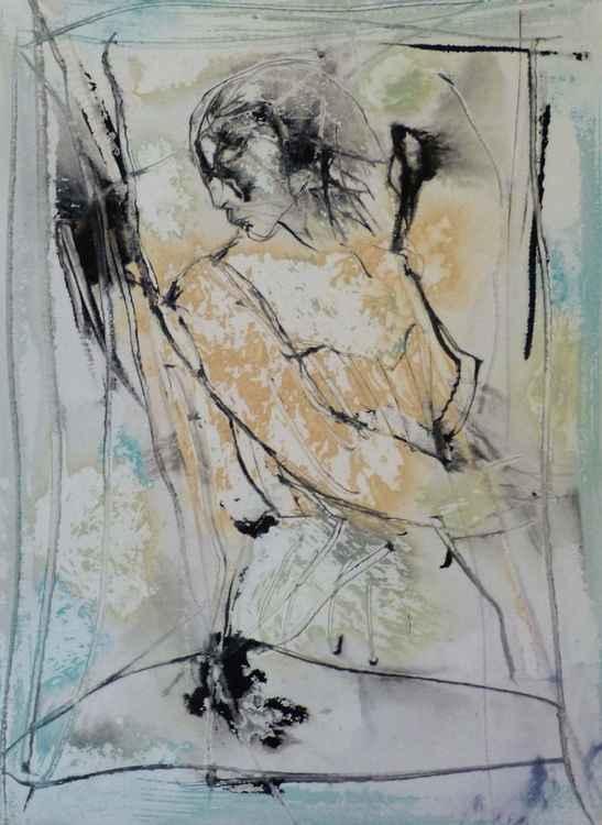 Modesty #13, Acrylic on paper 21x28 cm -