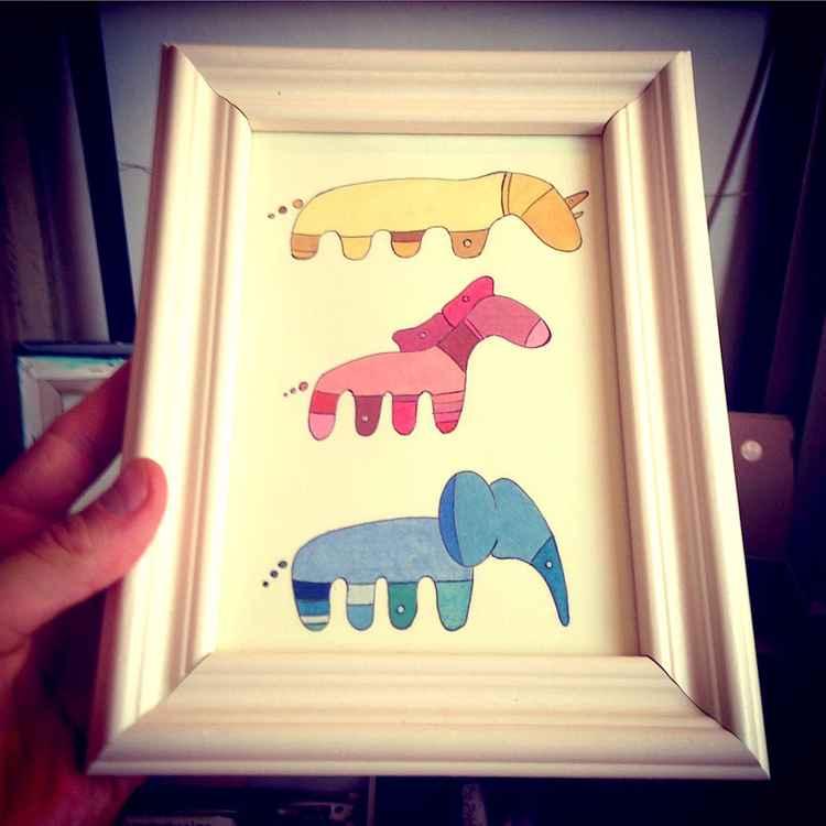 Rhino, Horse and Elephant