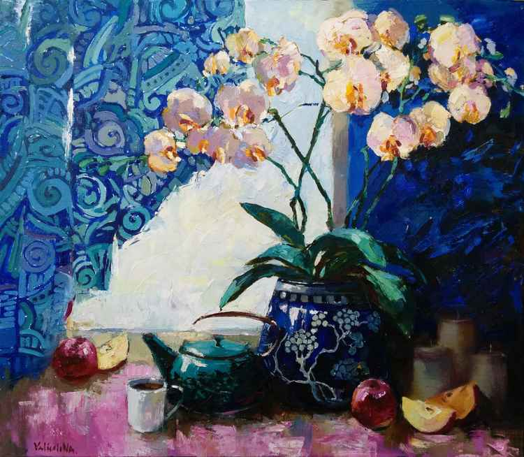 Orchid still life painting Original oil painting flower vase -