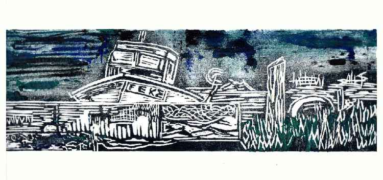 Boat, Dungeness with monoprint -