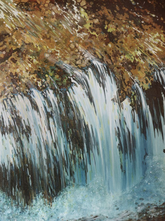 Kingdom River Waterfall Nature Water Series 36 x 48 Gallery Wrapped - Image 0