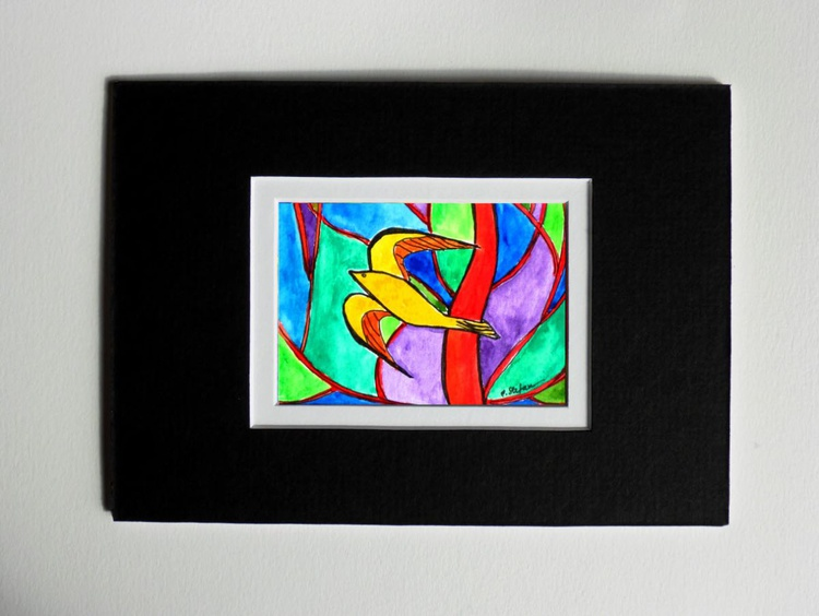 Abstract Bird (ACEO with Mat) - Image 0