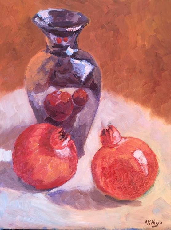 FRAMED Kitchen Still Life - Pomegranates and Vase - Image 0