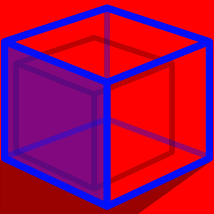 Blue Cube On Red - Image 0