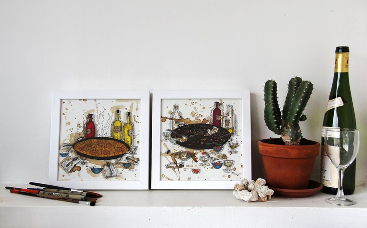 Still life with fideuà and white wine. Before and after. - Image 0