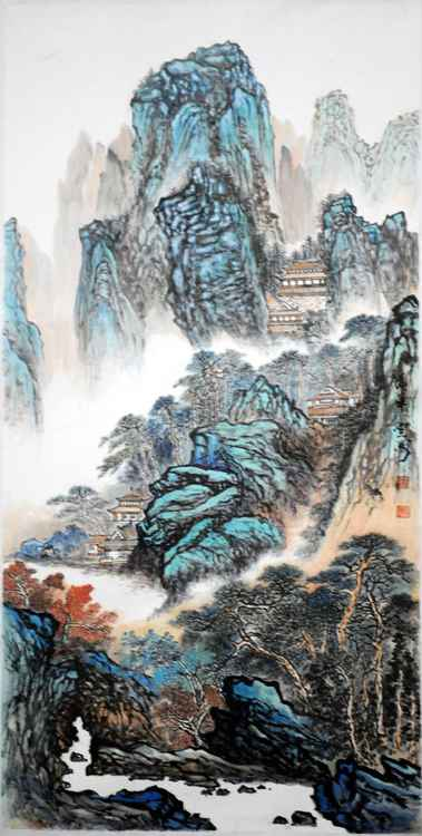 Chinese watercolour Landscape paining,with heavy clour-05 -