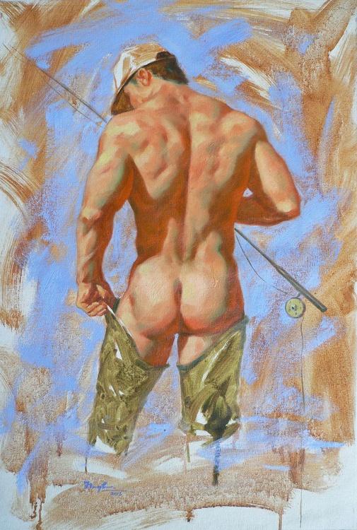 original oil painting art male nude fishiermen on canvas #16-2-16 - Image 0