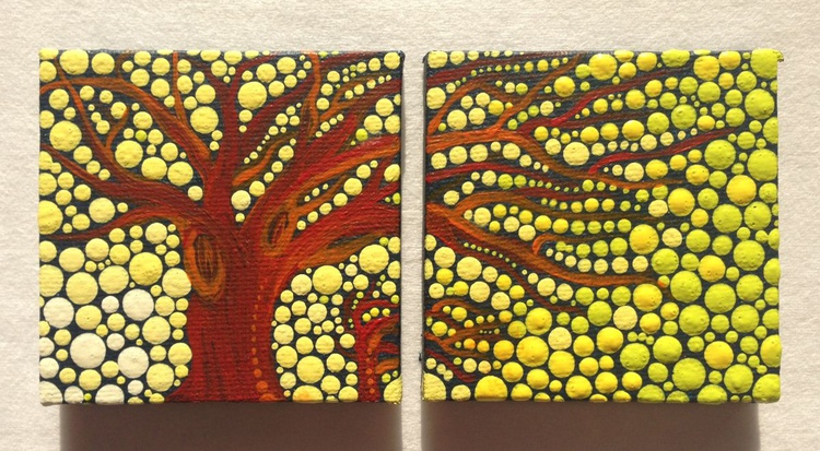 Miniature Double Tree in Sunset Painting - Image 0
