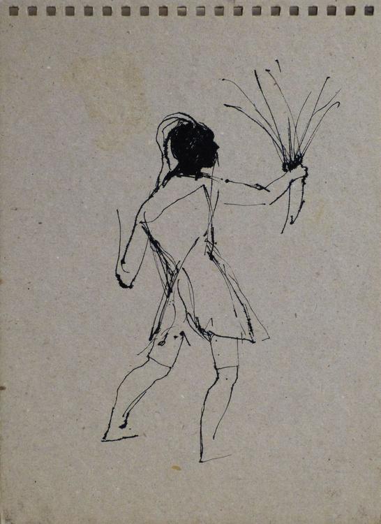 Some flowers, ink on cardboard 17x24 cm - Image 0