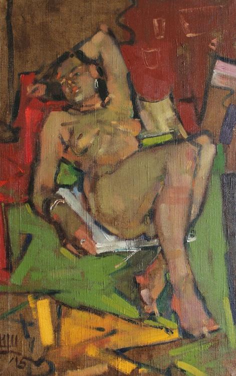 """Lying on back"". 46х72см. oil on canvas. 2015. - Image 0"