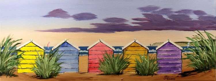 Beach huts and tussocks of grass - Image 0