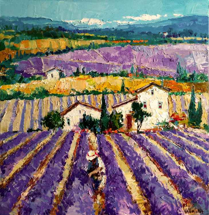Provence Lavender Field, Oil Painting, Original Landscape Painting -
