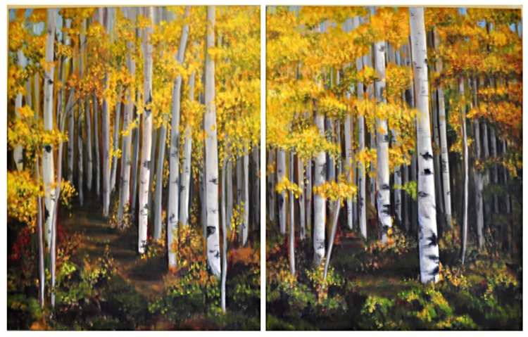 Aspens in Autumn- Diptych - Image 0