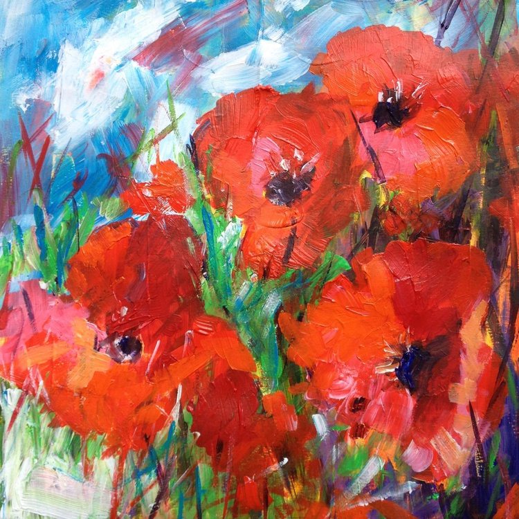 Red Poppies Blue Sky - Image 0