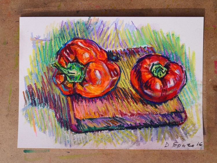Peppers on a wood (pastel) - Image 0