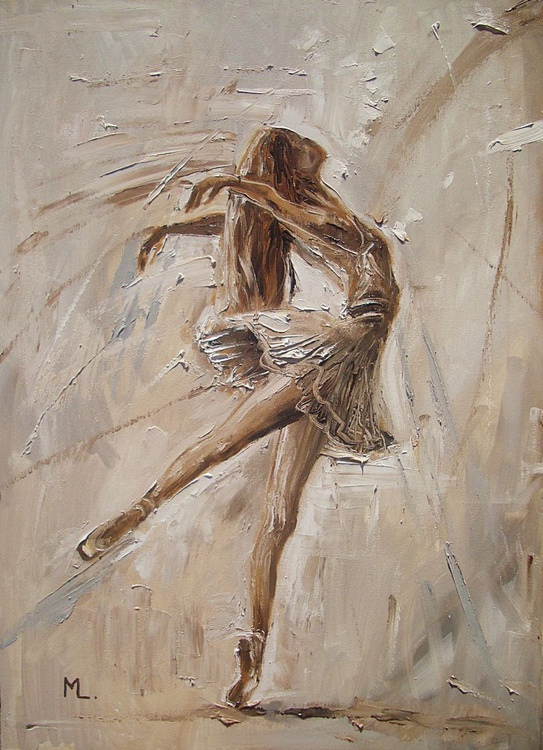 """ JUST FLY ""- ballerina liGHt  ORIGINAL OIL PAINTING, GIFT, PALETTE KNIFE - Image 0"