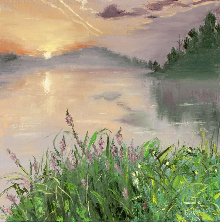 The lake at the sunset  10*10 - Image 0