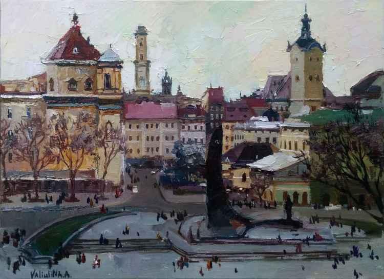 Lviv. Original oil painting city of Lviv, Ukraine -