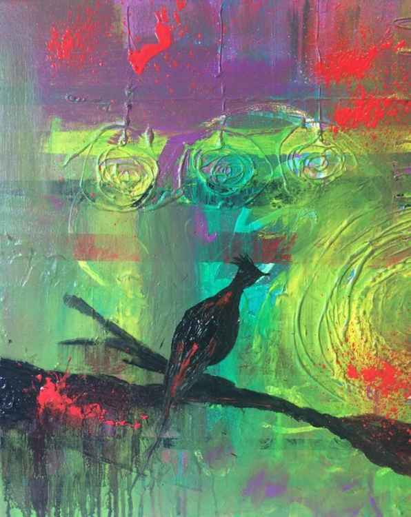 Birdy - Abstract Painting  16x20 inches Acrylic painting