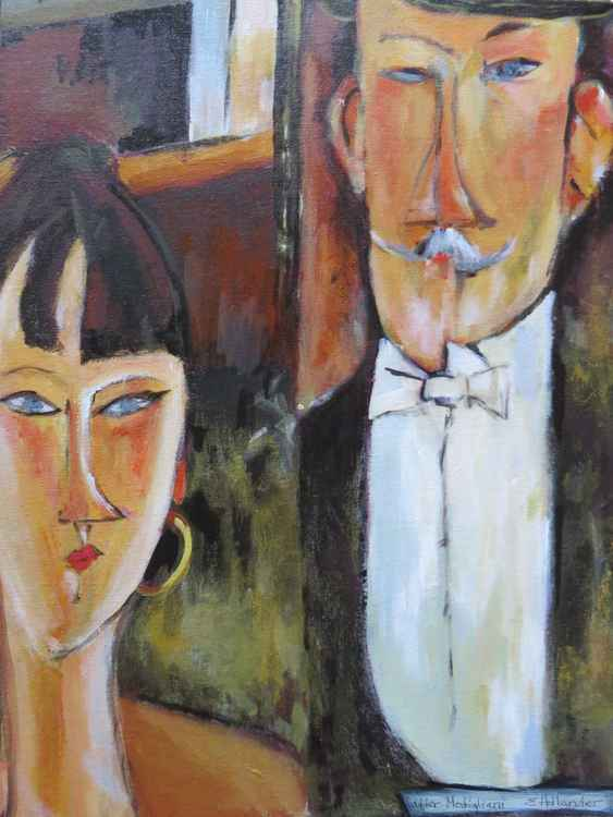 a painting made after Modigliani's bride and groom